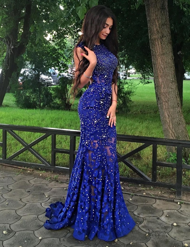 e7dba24e9e48 Exquisite Jewel Sweep Train Royal Blue Lace Mermaid Prom Dress with Beading  Open Back