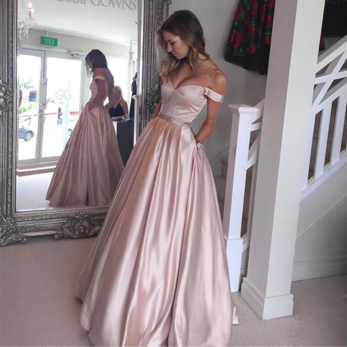 Charming A Line Off The Shoulder Light Pink Prom DressBeaded Waist