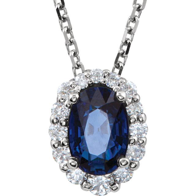 caa71aaa48b Women's 14 Karat White Gold Genuine Blue Sapphire & Diamond Necklace ...