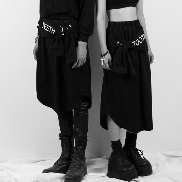 Japanese Black Punk Midi Skirt Teeth Tooth Letter Print (Free Shipping  Worldwide) on Storenvy b810701fe679