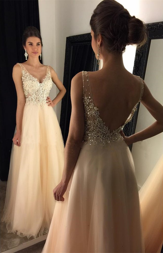 Fashion V Neck Appliqued Beading Floor Length Prom Dress On Storenvy