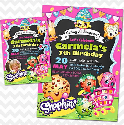 Shopkins Invitation Birthday Invites
