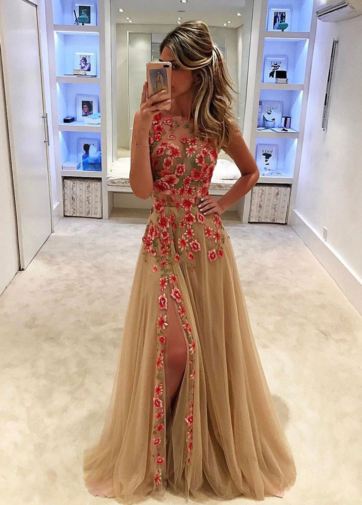 ccd37ee781 Unique champagne tulle applique long prom dress