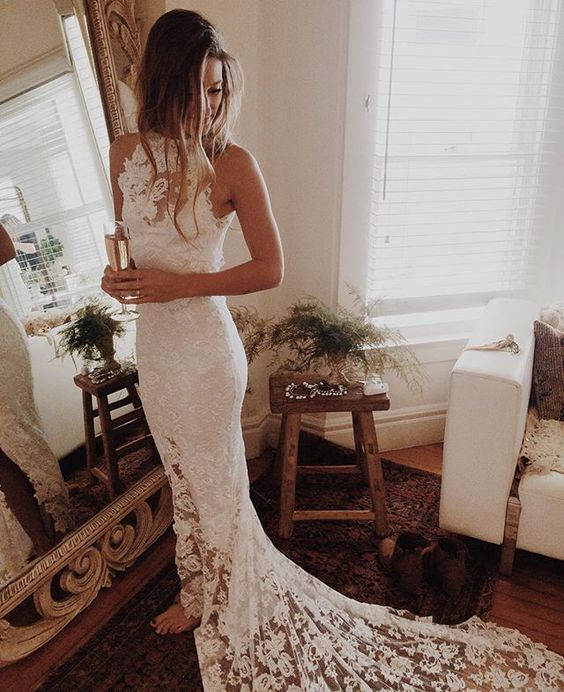 Romantic Boho Wedding Dresses Princess Backless Lace Skirt Mermaid