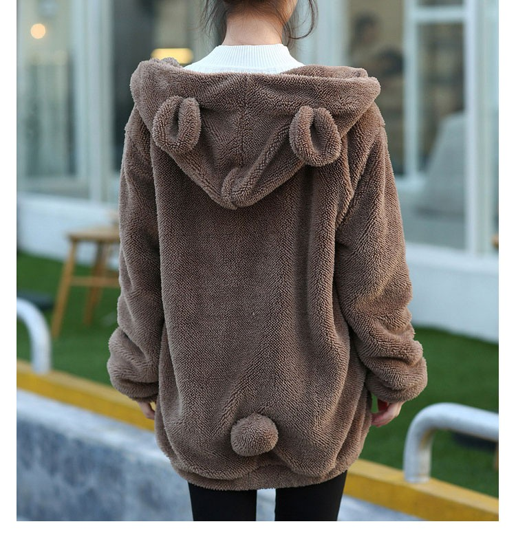 9b176d53b93 Hot Sale Women Hoodies Zipper Girl Winter Loose Fluffy Bear Ear Hoodie  Hooded Jacket Warm Outerwear Coat cute sweatshirt