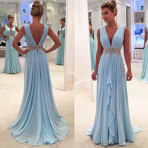 Sky blue V-neck chiffon long prom dress b21d1d7d5