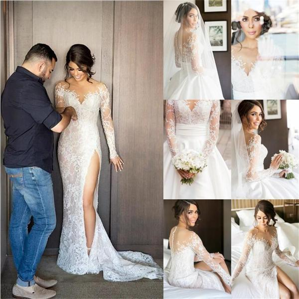 2 Pieces Newest Style Long Sleeve Side Slit Ivory Satin Lace Mermaid Wedding Dresses Bridal Gown Pd190146 Focusdress Online Store Powered By Storenvy,Semi Formal Modern Wedding Guest Formal Dress For Men
