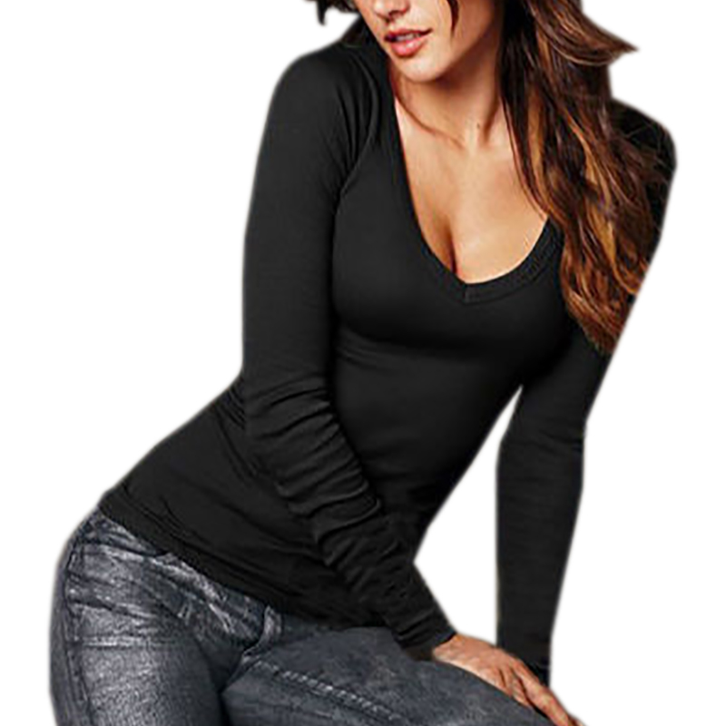 566bde49f85 Plus size women spring tee shirts v neck long sleeve t shirts for women  sexy casual