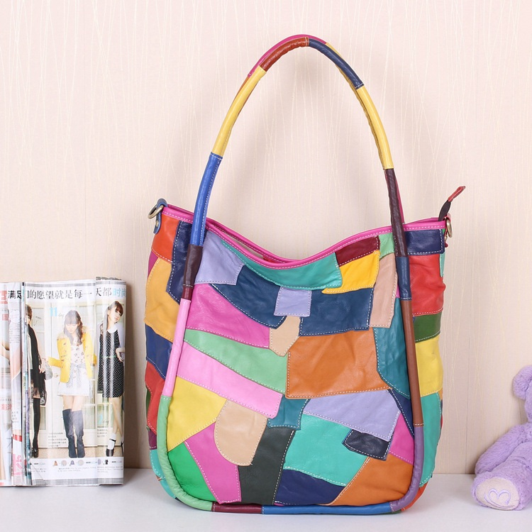 Handmade Splicing Leather Women's Handbag / Purse / Shoulder Bag / Messenger Bag / Travel Bag - m39-2 (7400476) photo