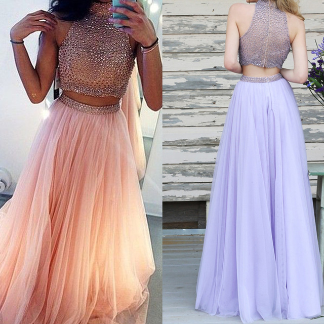 Peach Two-Piece Prom Dresses Beading Tulle Long Chic Evening Gowns ...