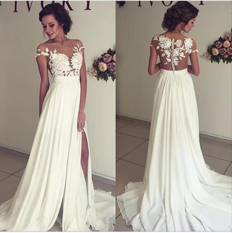 A Line Ilussion Scoop Appliques Summer Chiffon Wedding Dresses Lace