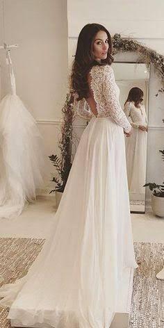 Lace Bodice Chiffon Wedding Dress,Long Sleeve Beach Wedding Dress ...