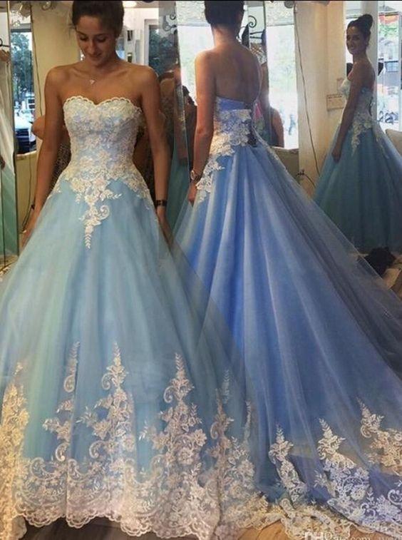 Blue Cinderella Wedding Dresses, Princess Wedding Dresses, Appliques ...