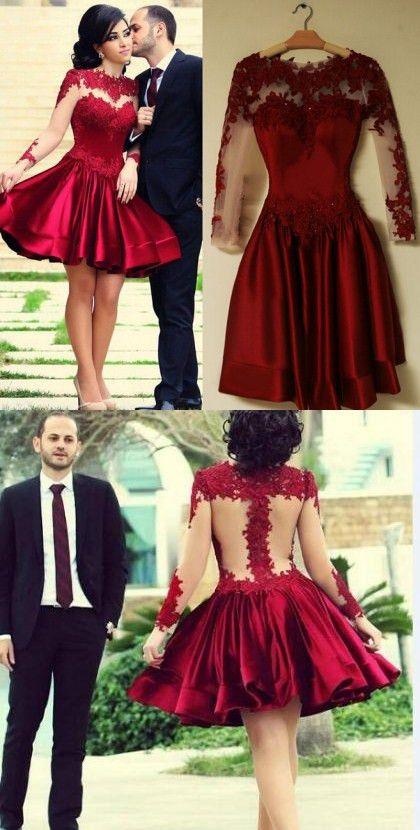 58477981b Sexy Prom Dress,Burgundy Prom Dress,Short Prom Dress,Long Sleeve Evening  Dress