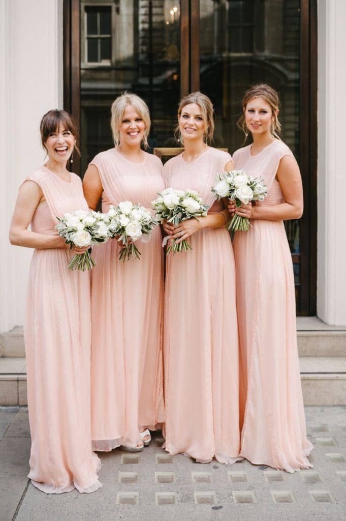 Modest A-line Pink Long Chiffon Bridesmaid Dress Wedding Party Dress ...
