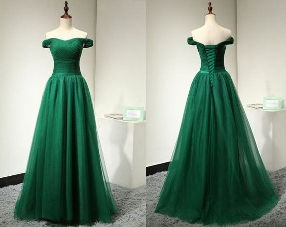4122a50a99e2 2017 Custom Charming Dark Green Prom Dress,Off the Shoulder Evening Dress,Tulle  Prom