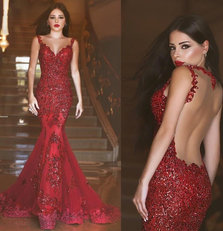 2018 Red Mermaid Prom Dresses Sequins Shiny Sheer Open Back ... 9c84e990af86