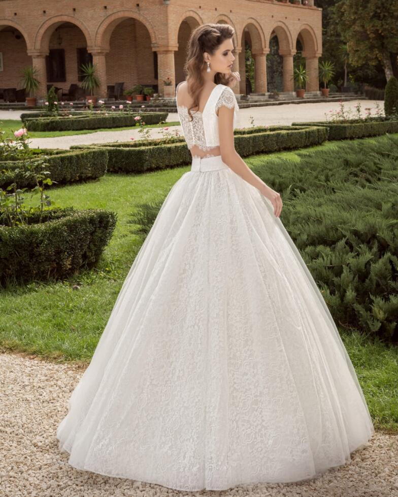 D108 Two Piece Ball Gown Lace Wedding Dresses with Short Sleeves ...
