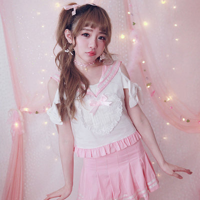 6fc6d948291 Emo Retro Great Circle Eyeglass Korean Trendy Glasses DC222.  9.99 · Girly  heart laced strapless t-shirt navy collr bow tops dc100 - Thumbnail 4