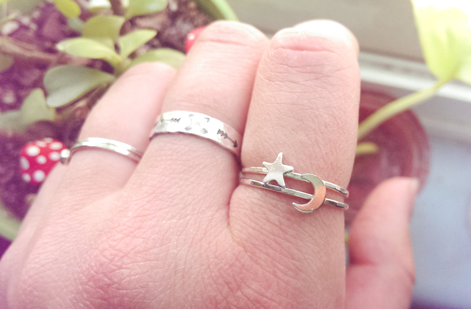 Crescent Moon ring | Star ring | Moon and Star ring | Moon ring ...