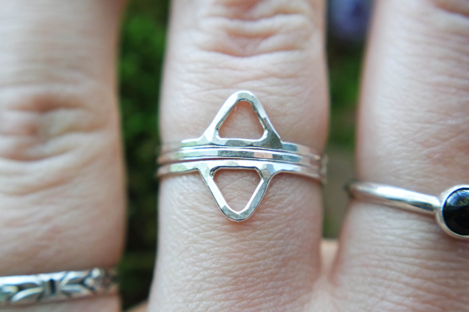 3 Piece Triangle Ring SetHammered Triangle Stacking Ring SetSterling Silver Stacking RingSizes 4-9.5Stacking Ring
