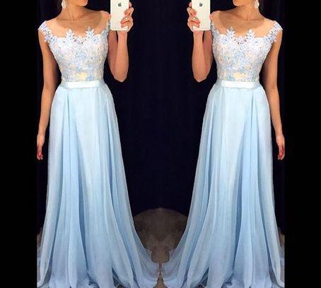 Image of A-line Light Blue Chiffon Lace Long Prom Dresses, Formal Dresses,XP8