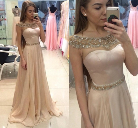 Image of a line promd ress,champagne chiffon beading long prom dress,2017 formal dresses,XP29