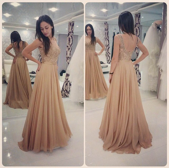 36d6aa5bb2e Glamorous long champagne lace prom dresses party evening gown beaded  chiffon appliques open back plus size