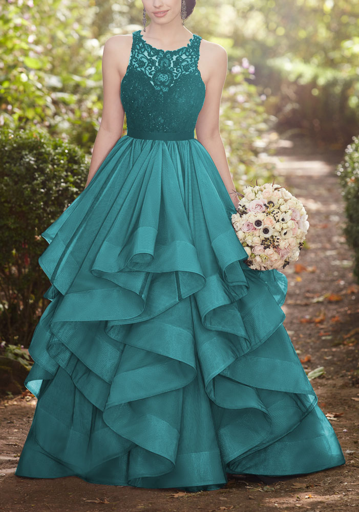 8580bb49359 green round neck lace tulle long prom dress- green wedding dress (57240187  dress day
