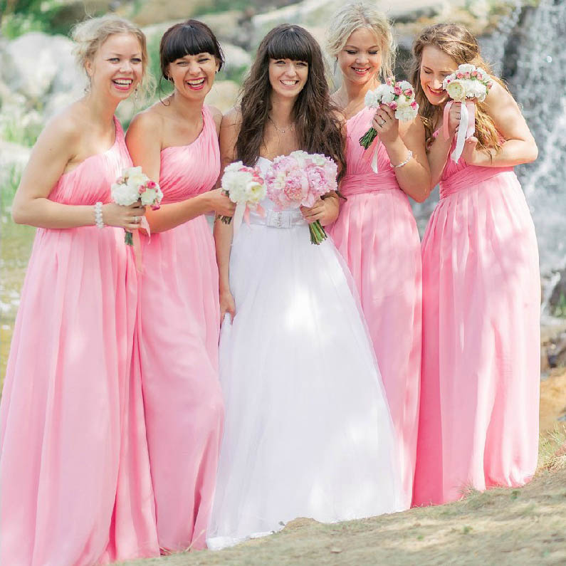 04396448930 Hot pink one shoulder bridesmaid dress with ruching detail long chiffon  bridesmaid dress asymmetric bridesmaid dress