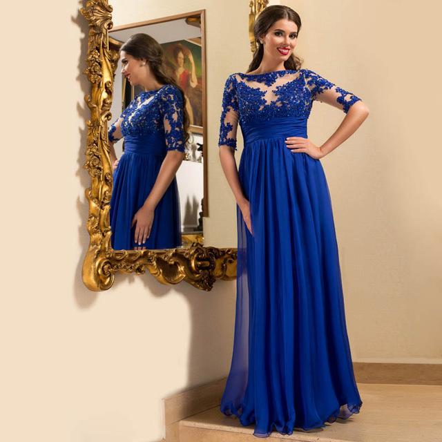 Royal Blue Long Sleeve Prom Dress, Lace Floor-