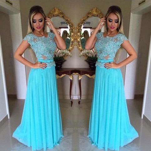 Scoop Neck Long Prom Dress With A Sash Sky Blue Lace Prom