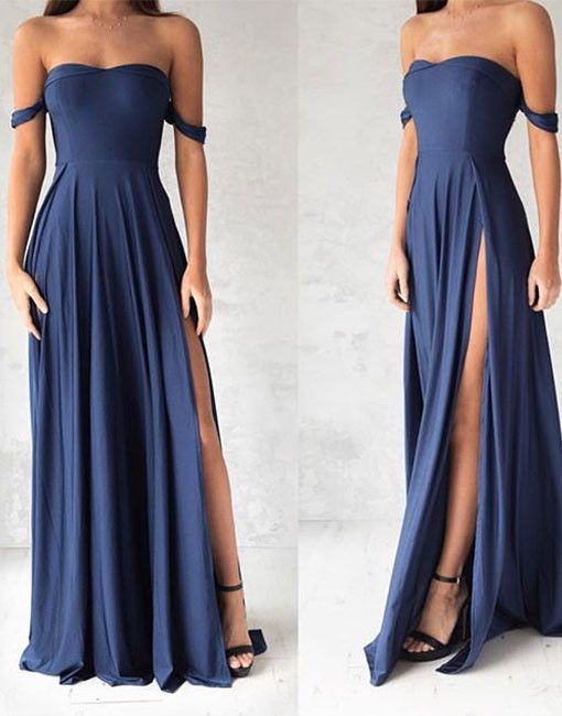 Navy blue off shoulder long prom dress,blue evening dresses on Storenvy
