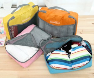 Image of 2 Size 4 Packing Squares 4 Different Color Multiple Organizing Travel Packing Pouch Easy Use