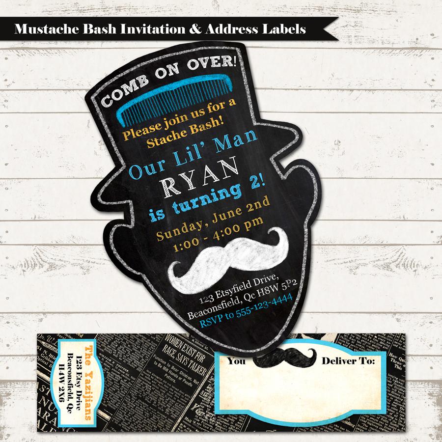 Mustache Bash Birthday Invitation With Wrap Around Address Label Vintage Inspired Blackboard Silhouette Lil Mister Custom Printable