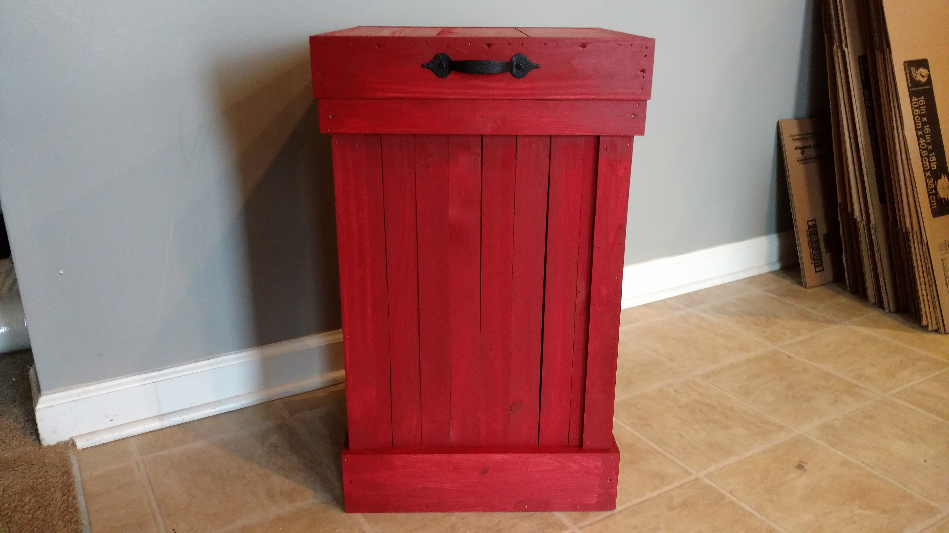 Primitive Red Rustic Wood 13 Gallon Trash Can, Garbage Can, Kitchen Storage  sold by Simply Rustic Furnishings