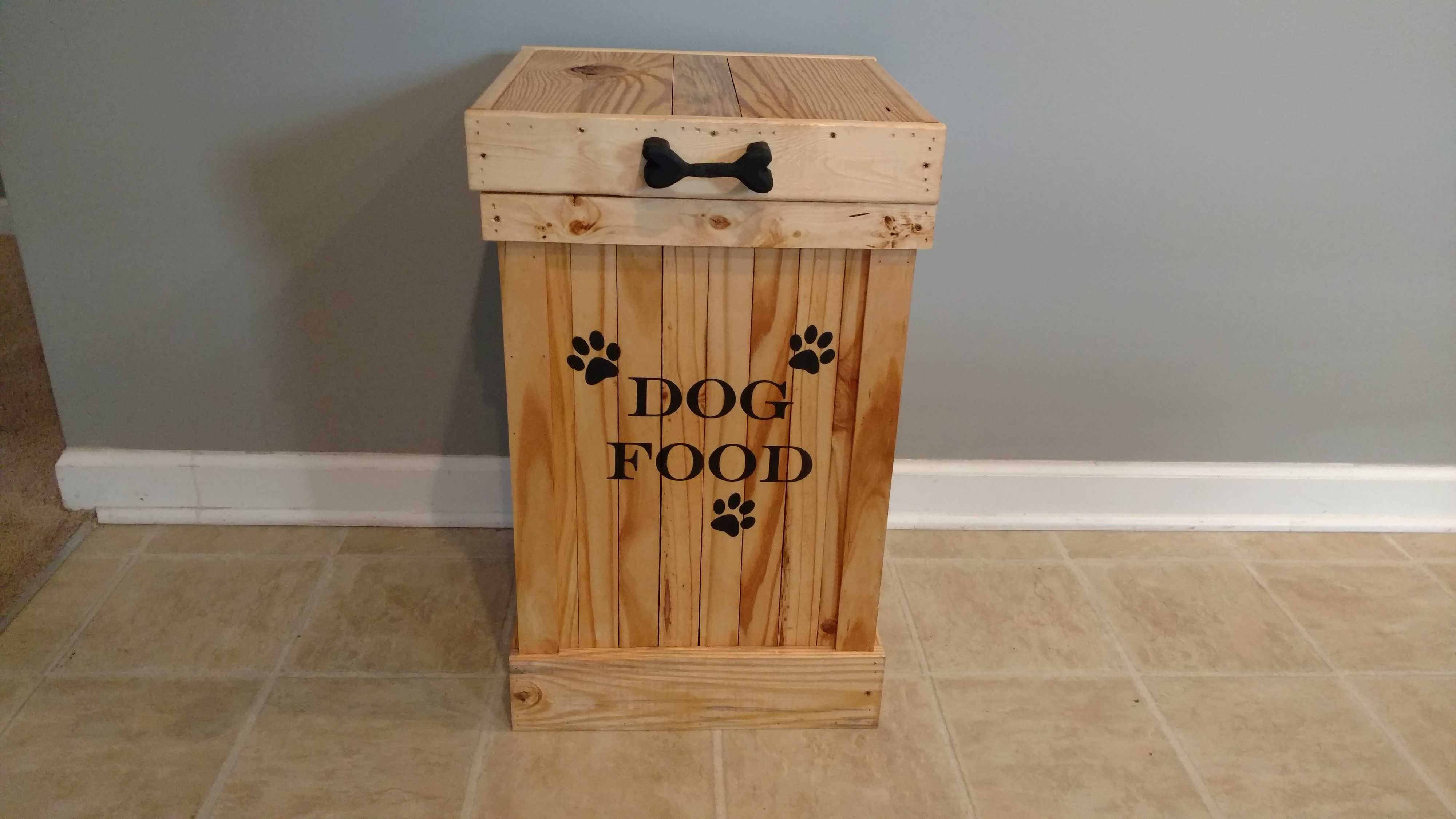 Wood Dog Food Container Pet Food Storage Container Cute Pet Food Storage 13 Gallon Animal
