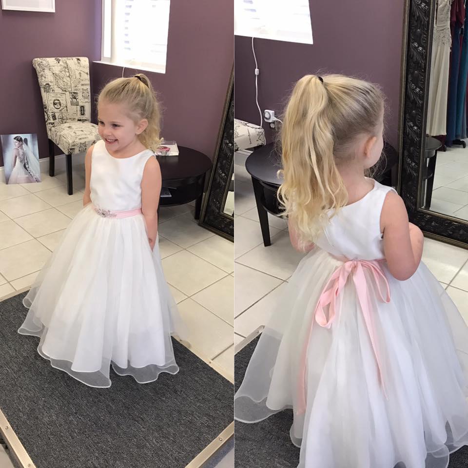 Princess White Organza Flower Girl Dress With Pink Sashpd2262