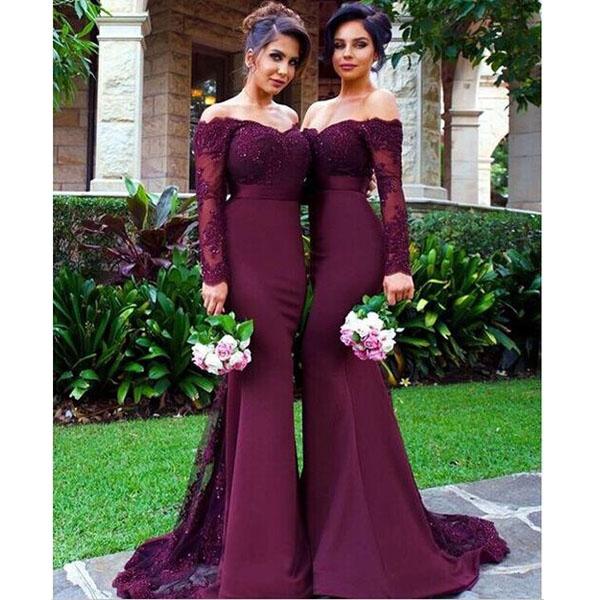 Dress With Sleeves Burgundy Bridesmaid Dress