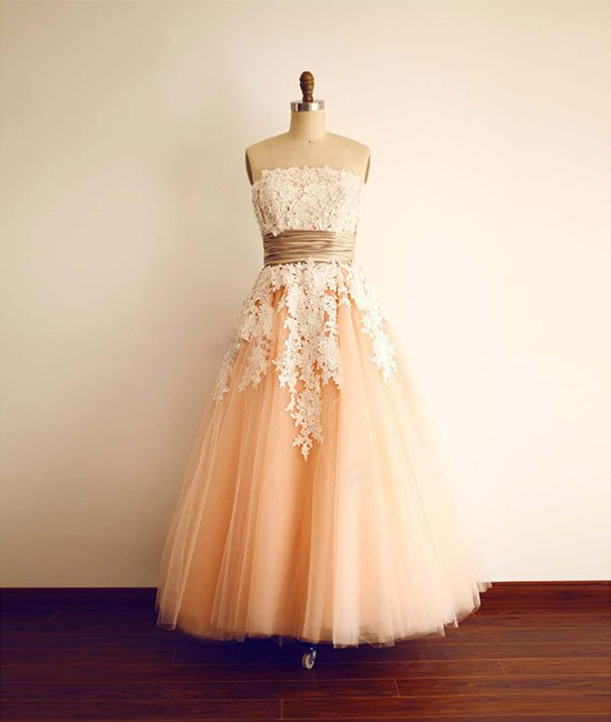 Peach Prom Dress with Lace Appliques