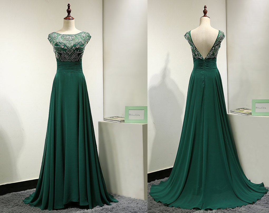 Emerald Green Chiffon Evening Dress
