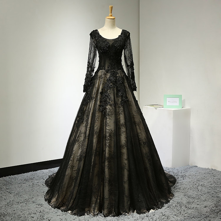 Vintage Lace Sequin Beaded Black Long Evening Gown With Sleeves