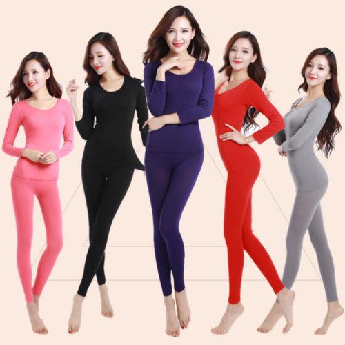 Womens Winter Slim Thermal Sets Tops Pants Underwear Long Pajamas Sleepwear