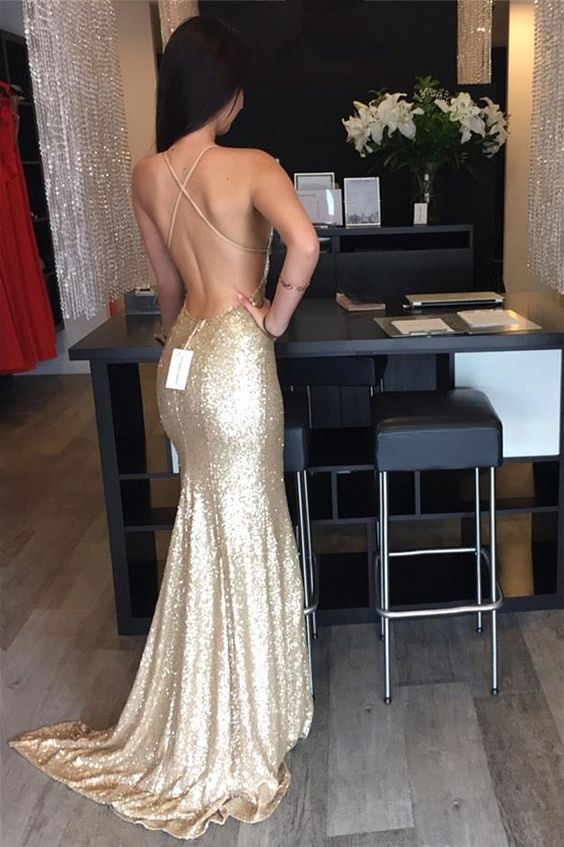 P196 New Gold Sequins Evening Gowns Hot Sexy Backless Prom Dresses Plus  Size Long Mermaid Bridesmaid