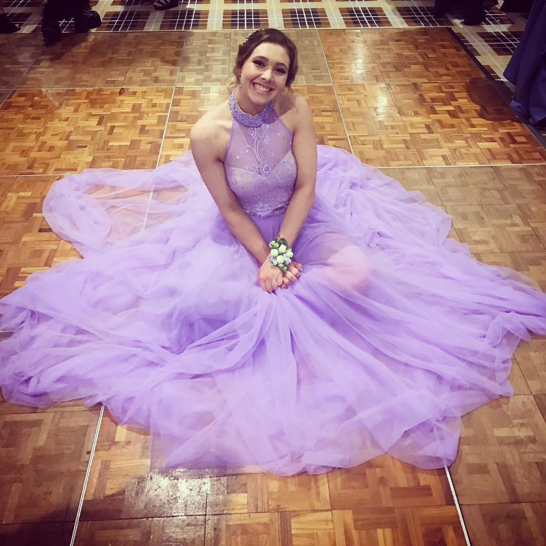 P230 Halter Long Lavender Tulle Prom Dress with Open Back,High Neck ...