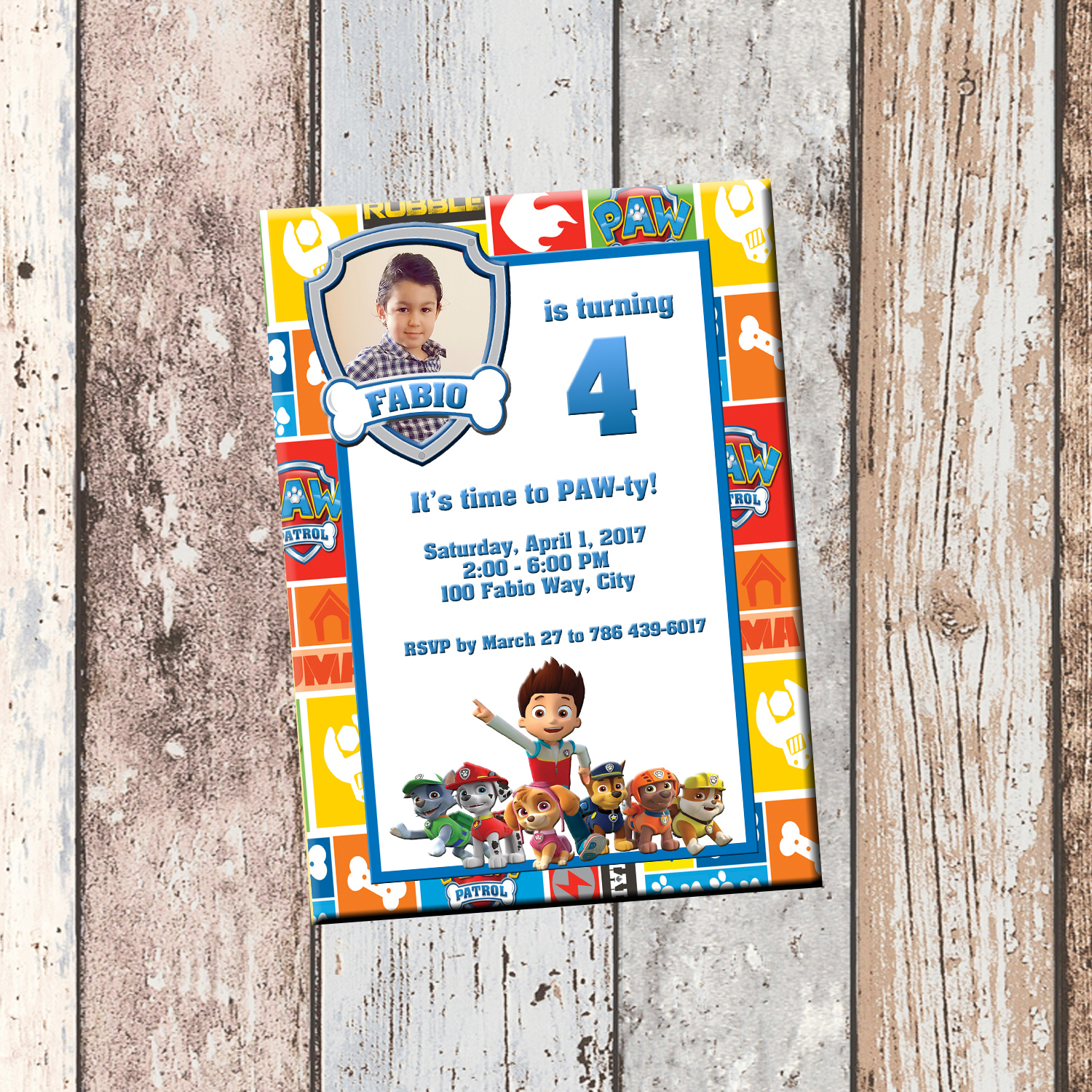 Paw Patrol Personalized Birthday Invitation 1 Sided Card Party