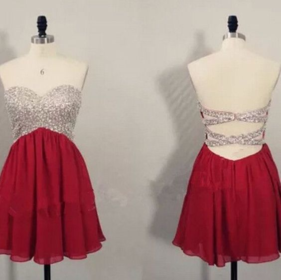 P248 Red Homecoming dress,Short prom Dress,Backless Prom Dresses,Party dress for girls,cocktail dress
