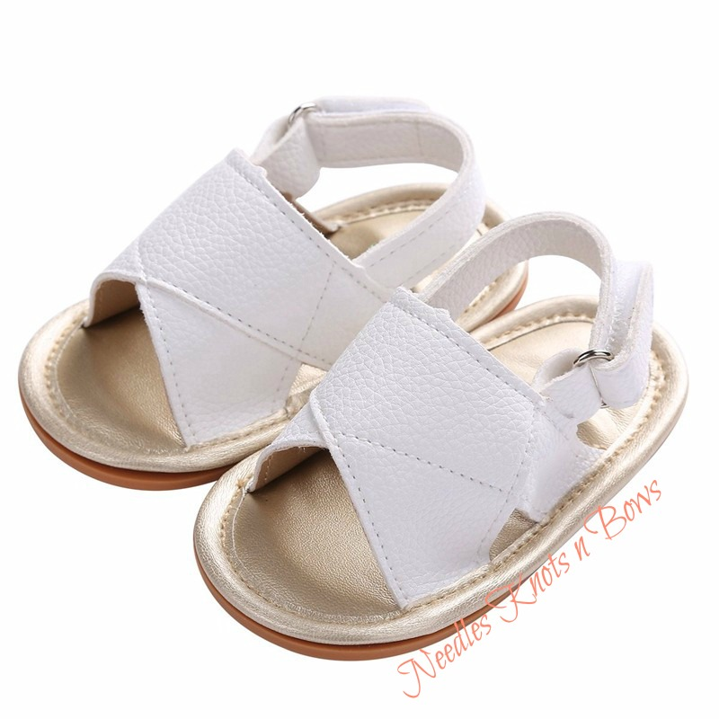 Baby Girls White Leather Sandals, Girls
