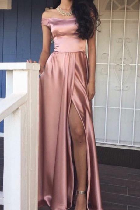 c2e8adcdfff2 Pink Off Shoulder High Split Satin Evening Prom Dress 2017 Sale on ...