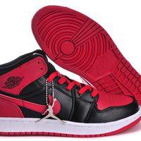 3588fa95f422 Nike Air Jordan 1 Womens Microfiber Black White Red · Sneakeronline ...
